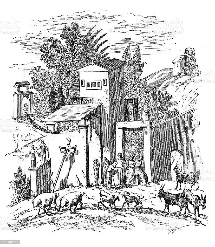 Antique illustration of ancient Roman farmhouse vector art illustration