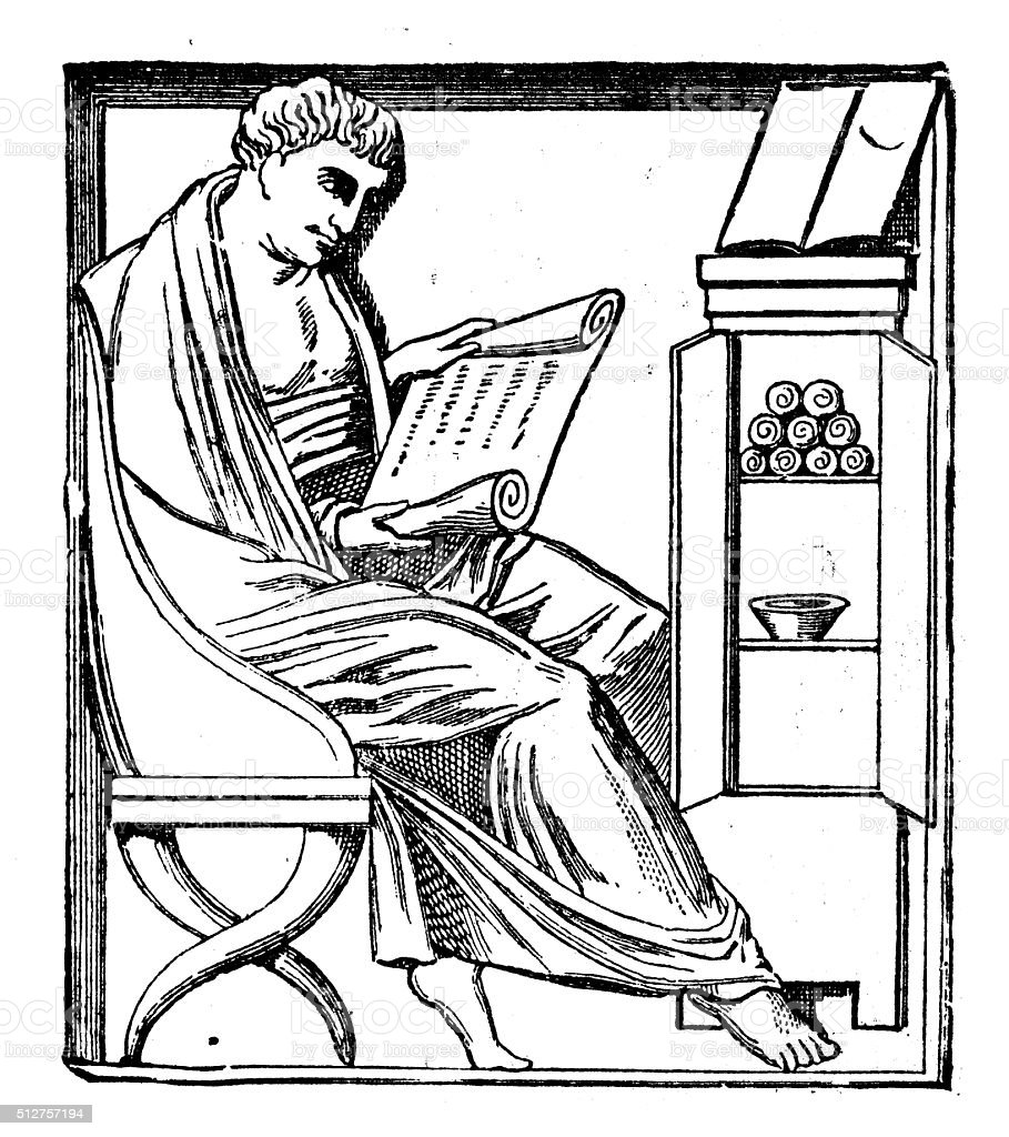 Antique illustration of ancient Roman reading a manuscript vector art illustration