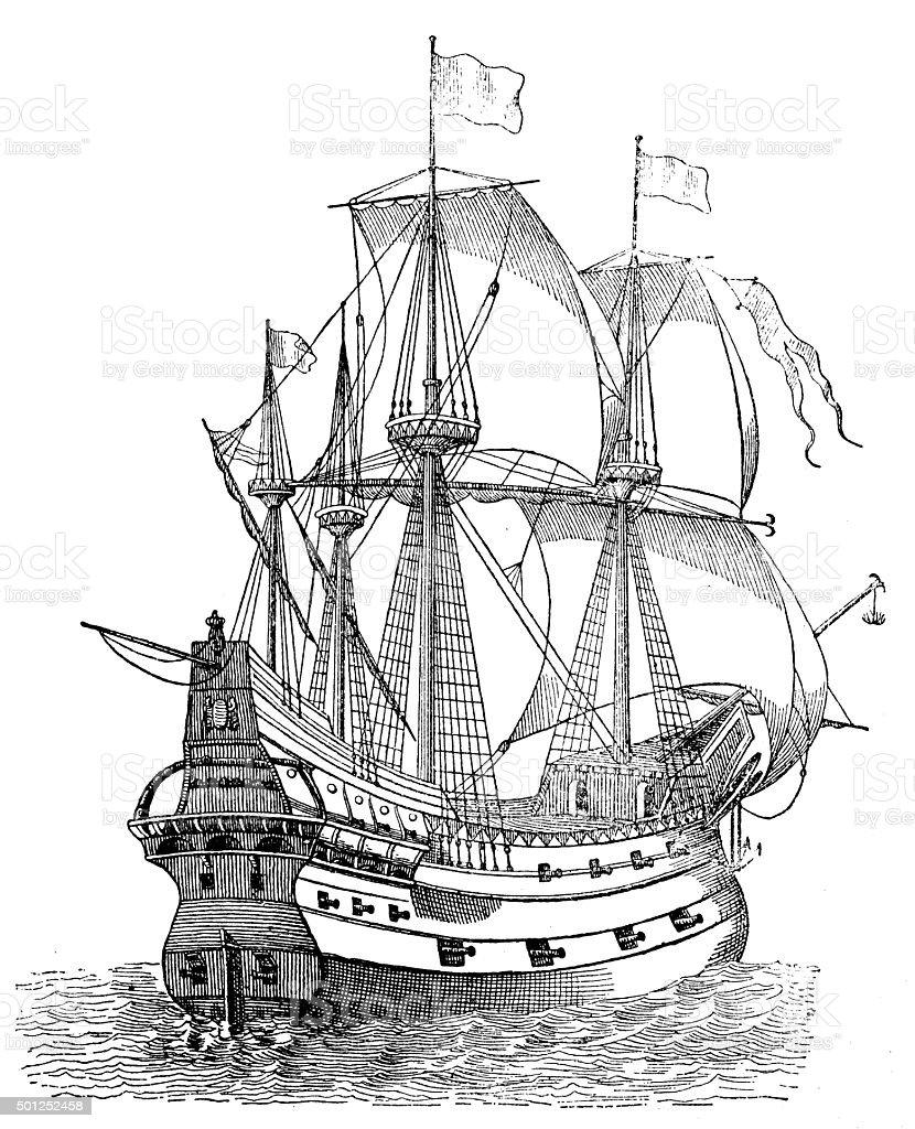 Antique illustration of ancient vessel or galleon vector art illustration