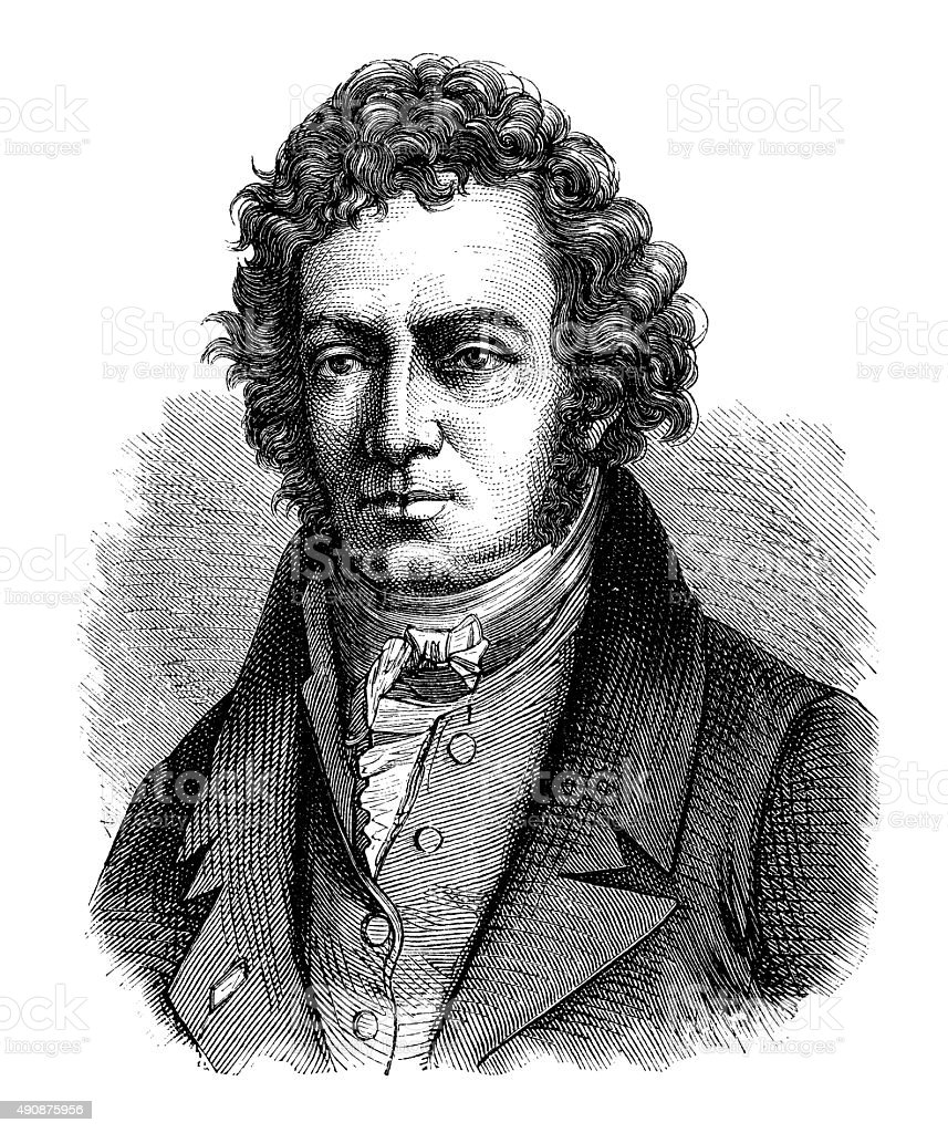 Antique illustration of André-Marie Ampère vector art illustration