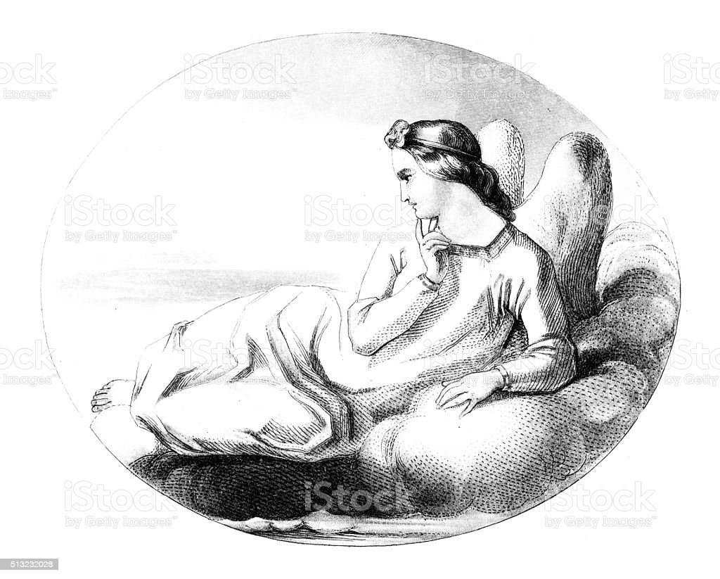 Antique illustration of angel vector art illustration