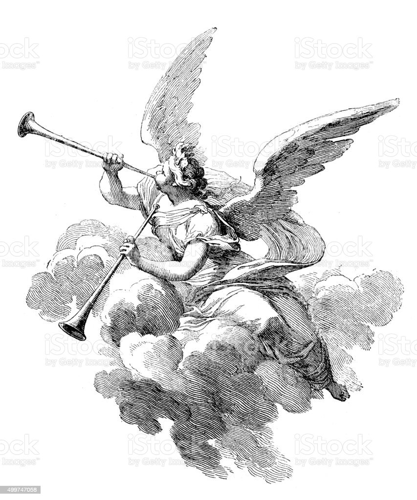 Antique illustration of angel playing  trumpets vector art illustration