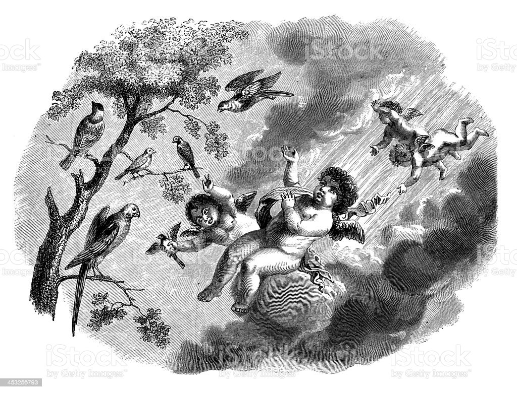 Antique illustration of angels and birds royalty-free stock vector art