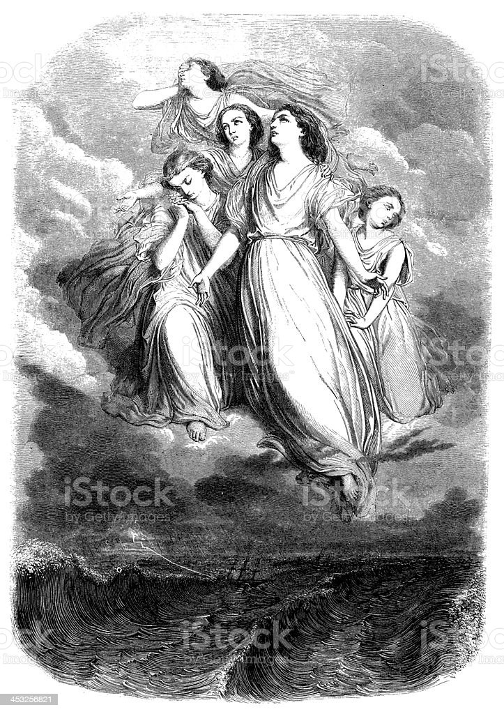 Antique illustration of angels royalty-free stock vector art