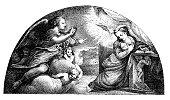 Antique illustration of Annunciation by Correggio