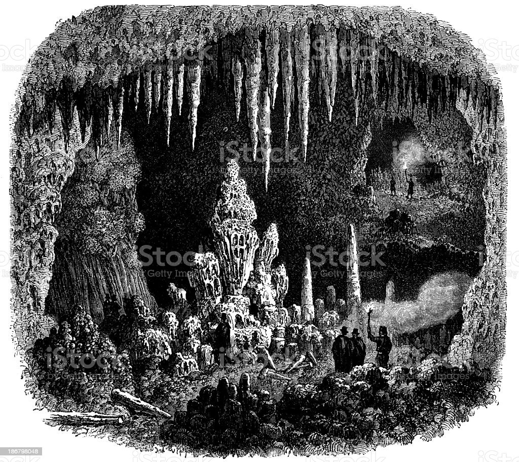 Antique illustration of Antiparos cave vector art illustration