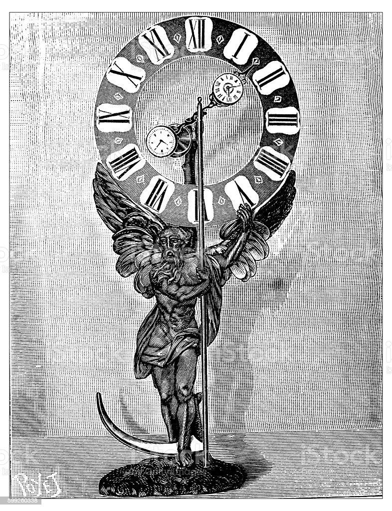Antique illustration of antique clock vector art illustration