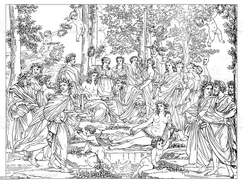 Antique illustration of Apollo and Muses on Mount Parnassus vector art illustration