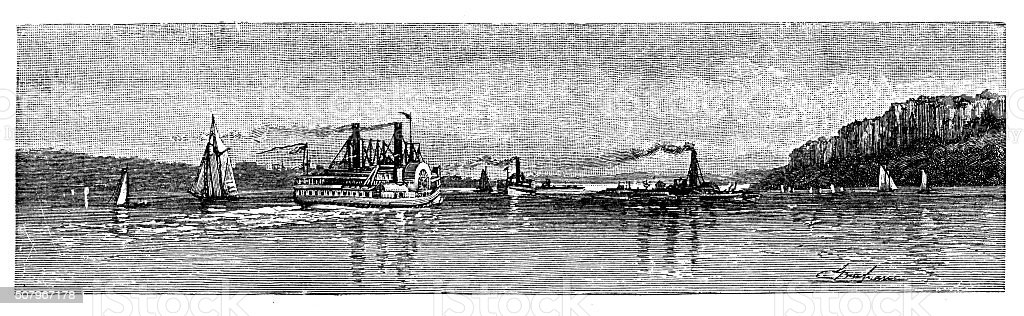 Antique illustration of approach to New York by the Hudson vector art illustration