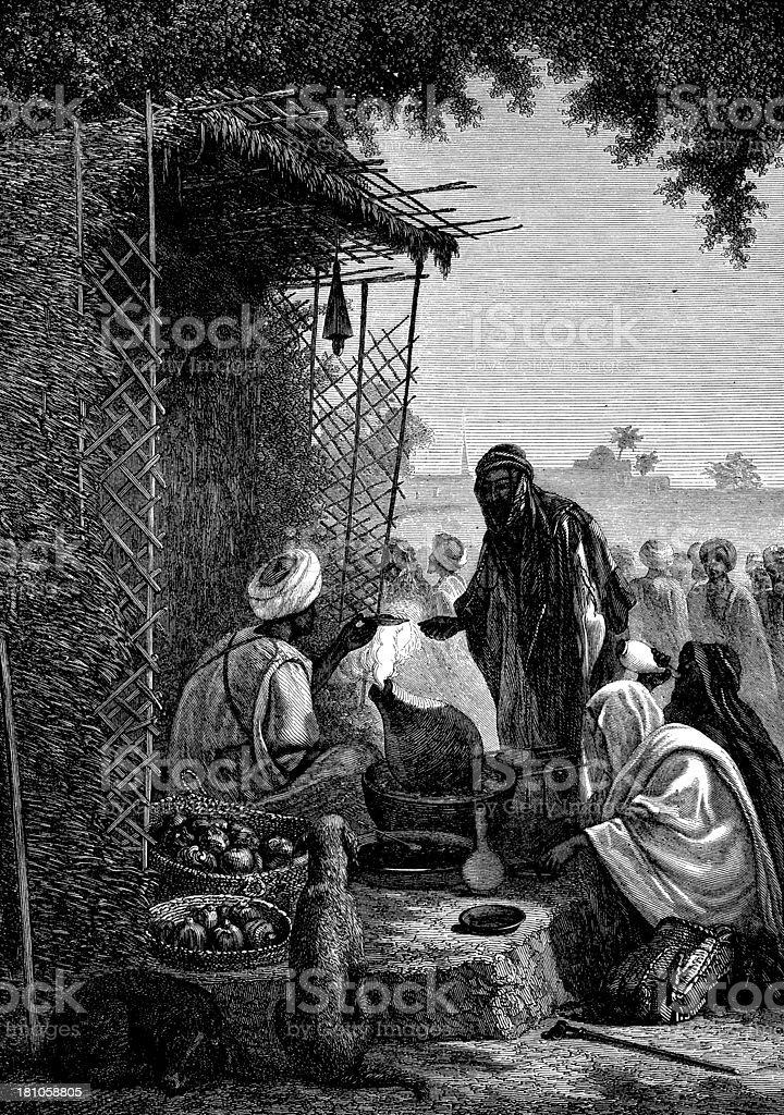 Antique illustration of arab restaurant at Cairo royalty-free stock vector art