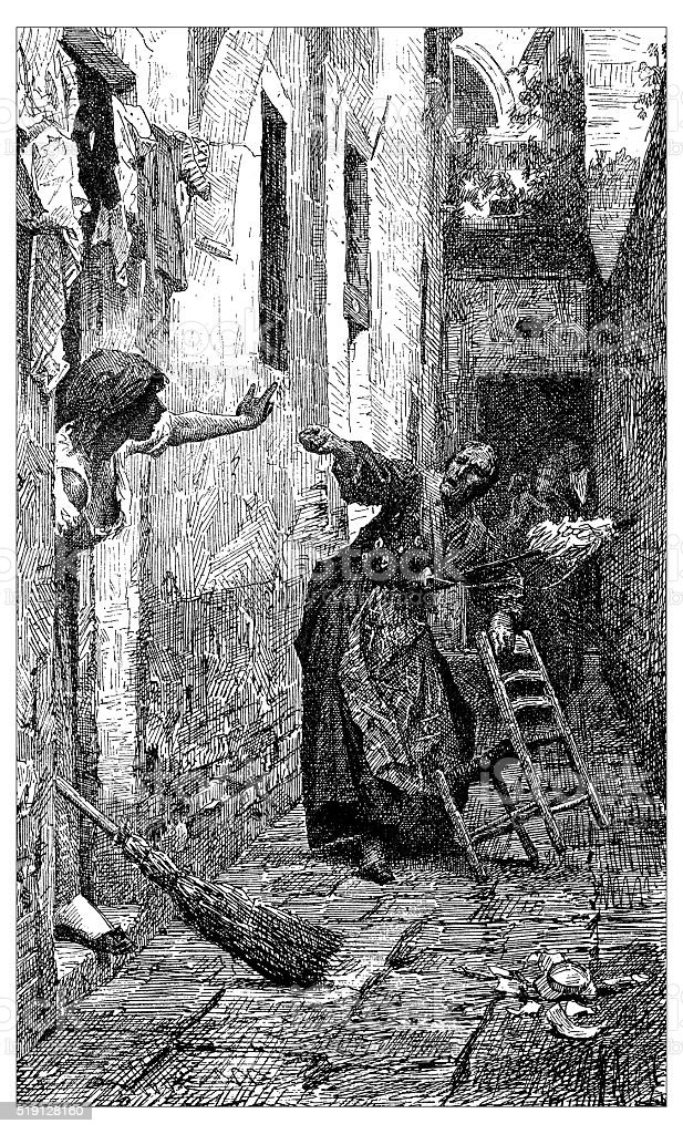 Antique illustration of argument between Italian women vector art illustration