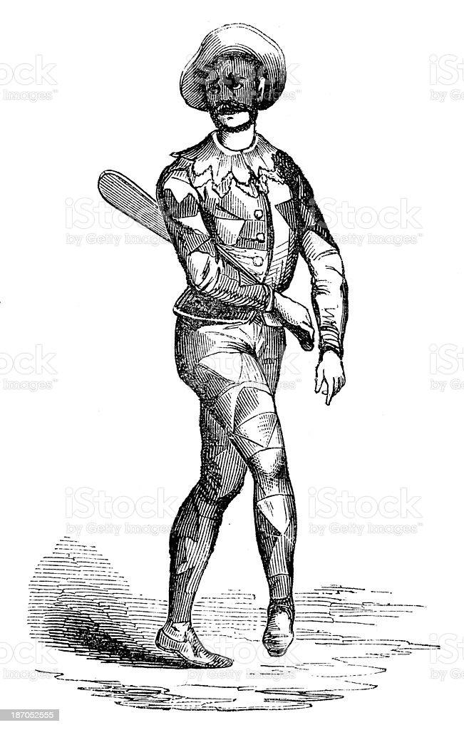 Antique illustration of Arlequin vector art illustration