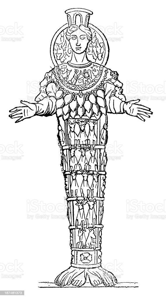 Antique illustration of Artemide royalty-free stock vector art