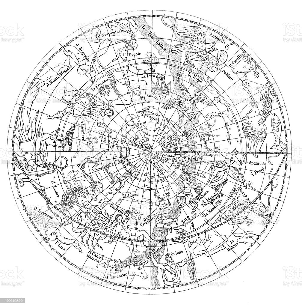 Antique illustration of astronomy constellations vector art illustration