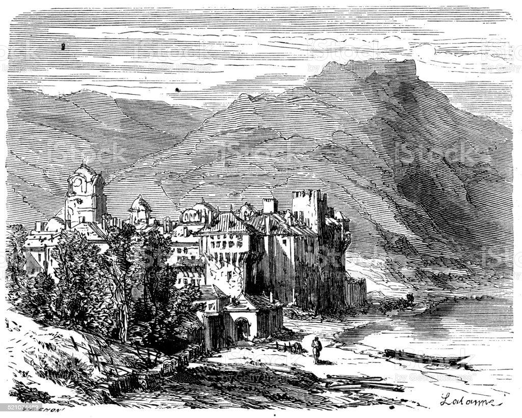 Antique illustration of Atlas Mountains vector art illustration