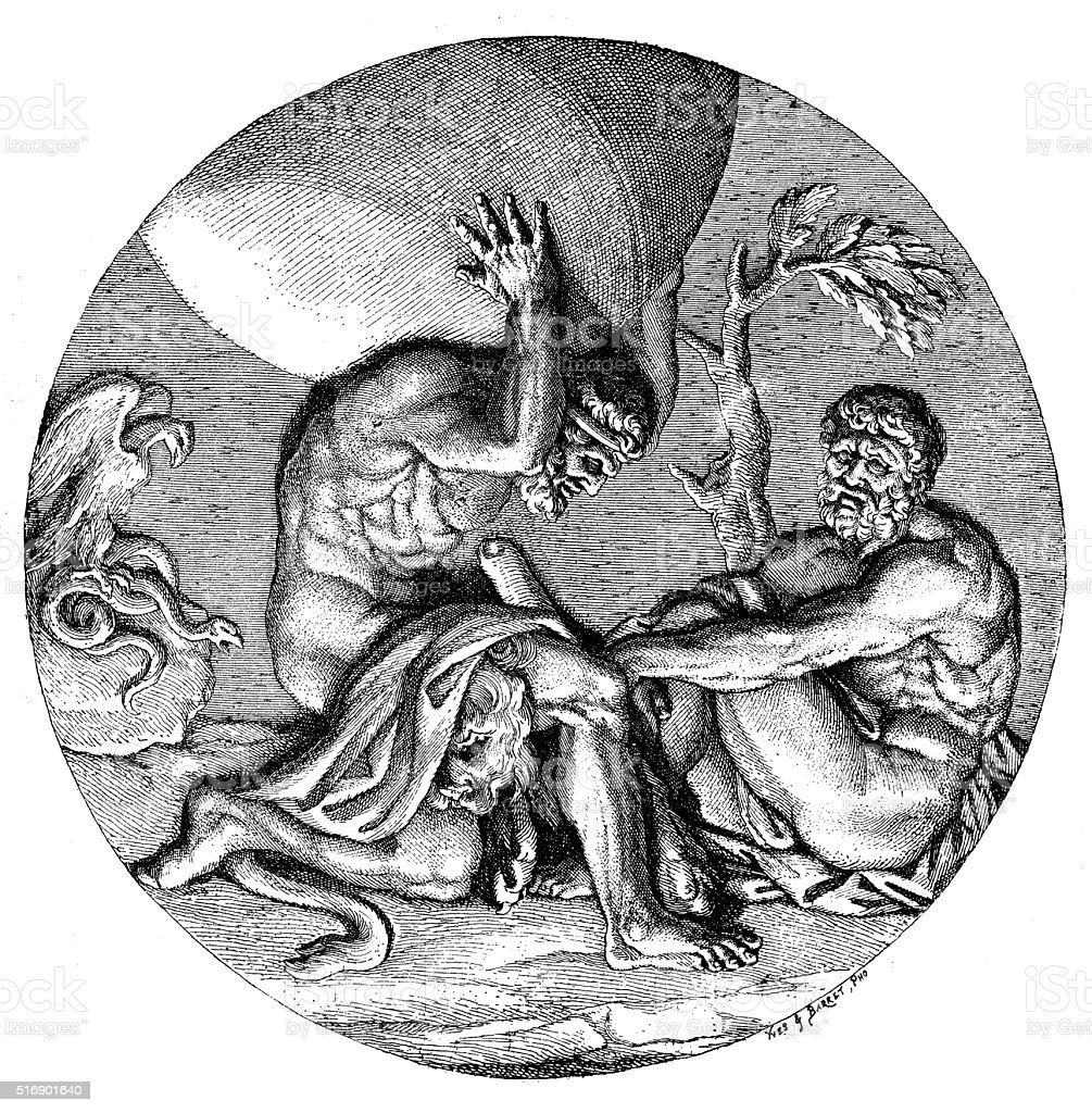 Antique illustration of Atlas with Hercules holding the heavens vector art illustration