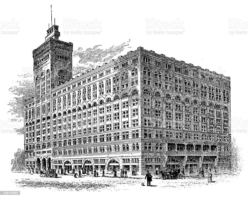 Antique illustration of Auditorium Building, Chicago vector art illustration