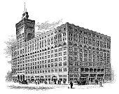 Antique illustration of Auditorium Building, Chicago