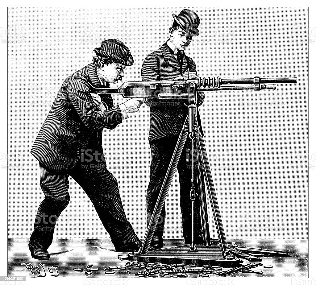 Antique illustration of automatic weapon vector art illustration