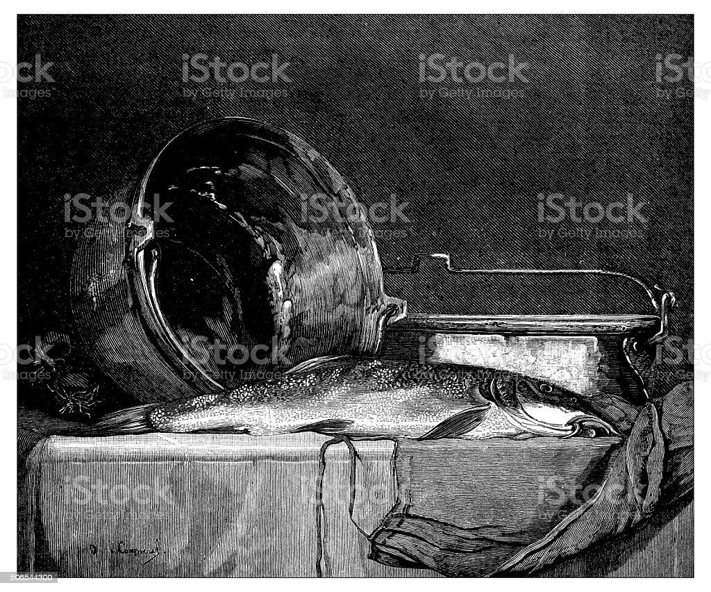 Antique illustration of barbel (fish) on a table vector art illustration