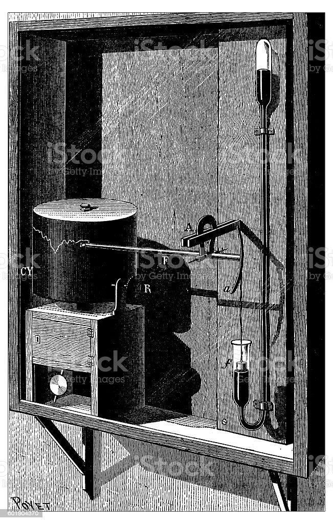 Antique illustration of barometer vector art illustration