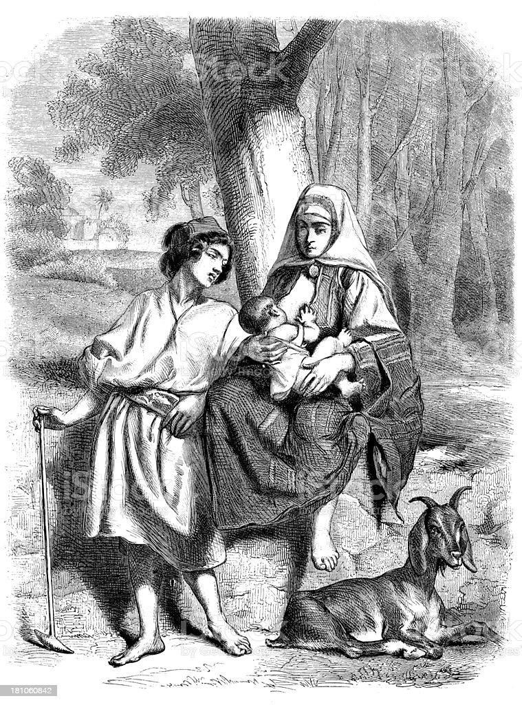 Antique illustration of Bethlehem family royalty-free stock vector art