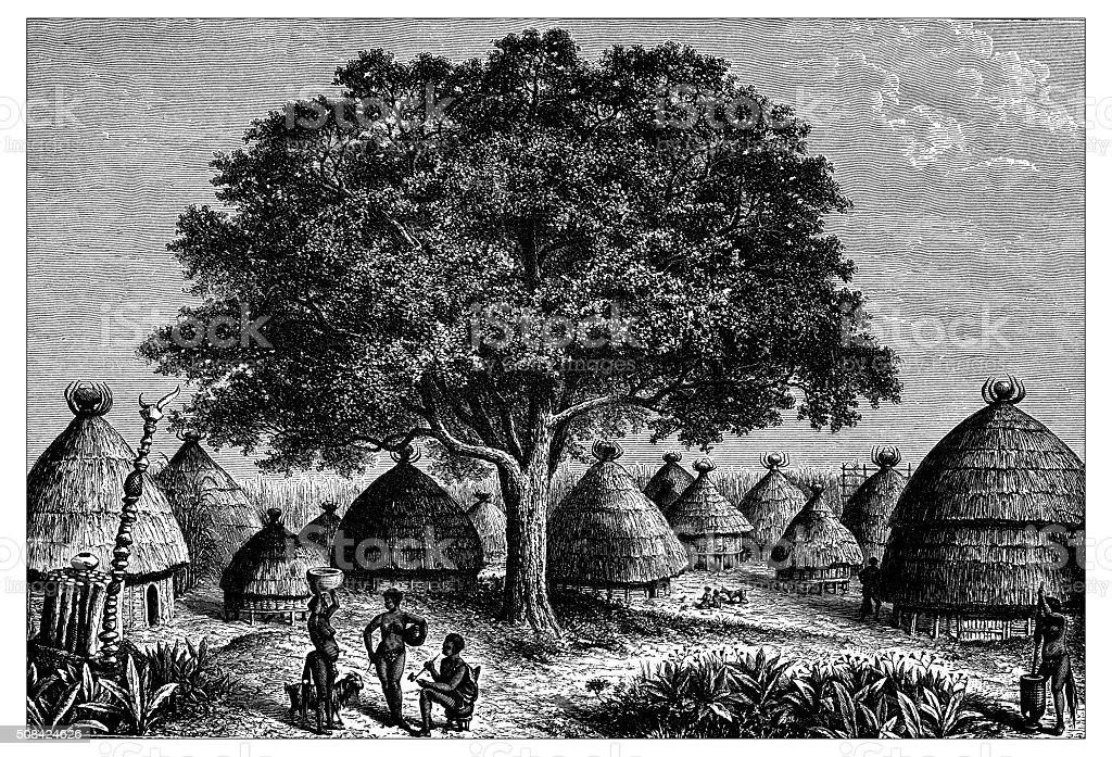Antique illustration of Bongo huts in the Nile valley vector art illustration