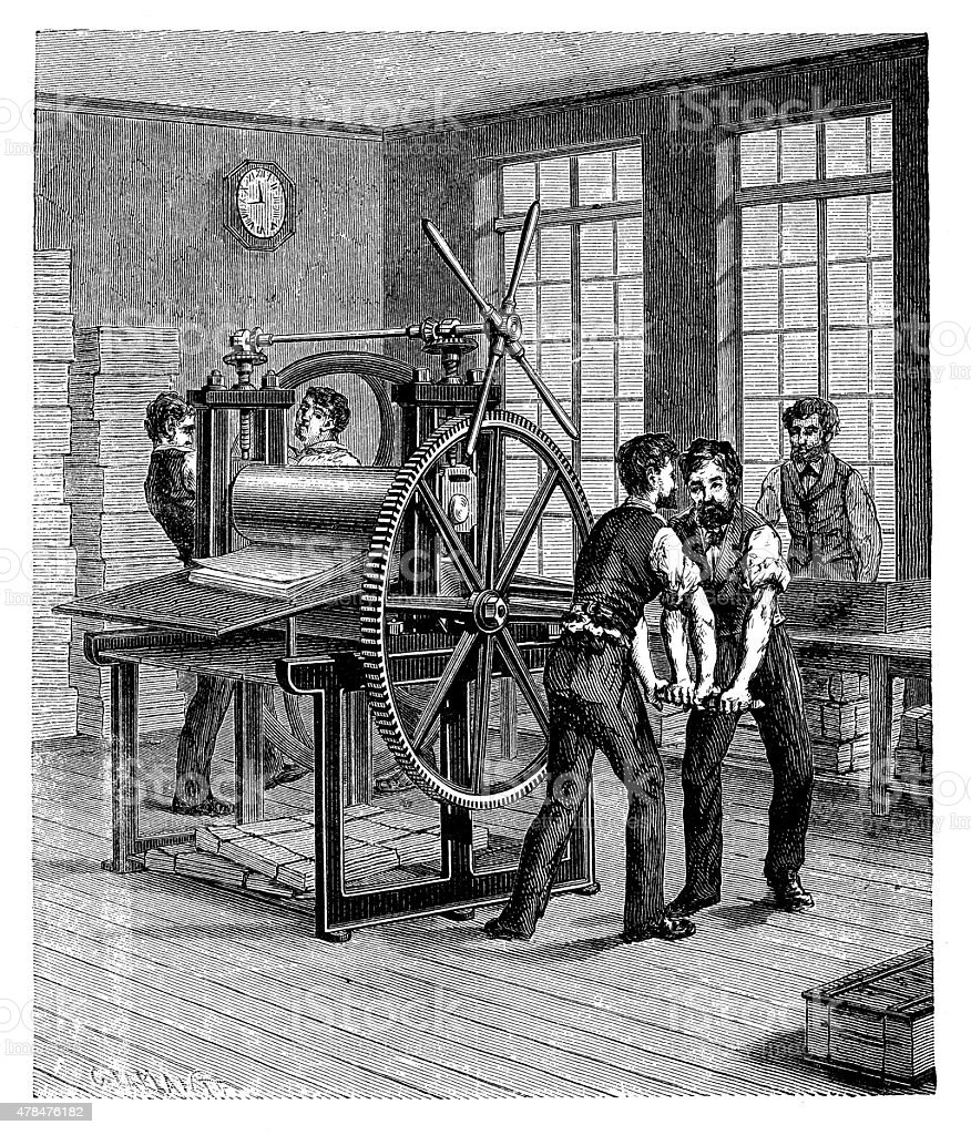 Antique illustration of book production, printing press, typography vector art illustration