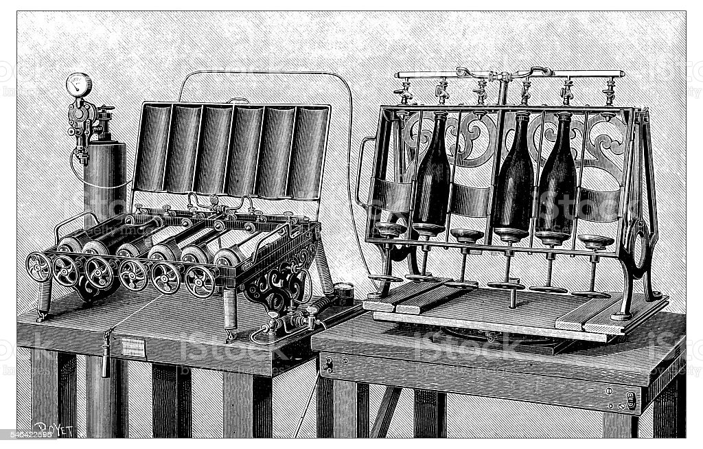 Antique illustration of Bottling machine vector art illustration