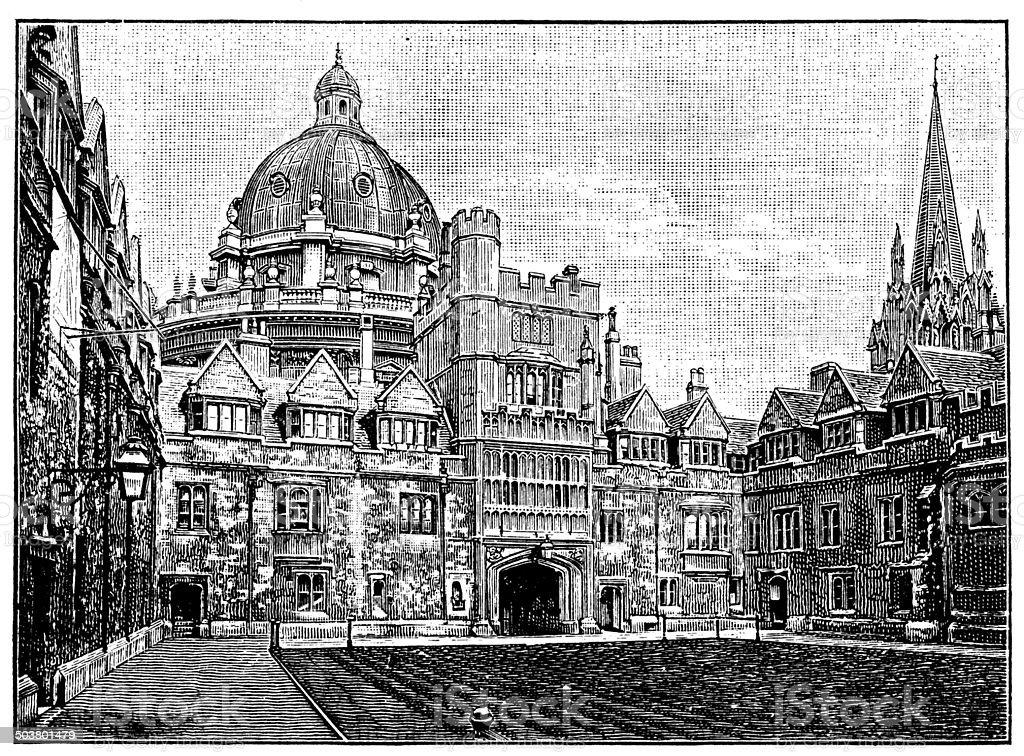 Antique illustration of Brasenose College, Oxford vector art illustration