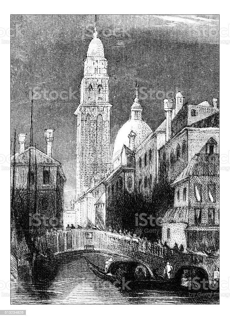Antique illustration of bridge in city vector art illustration