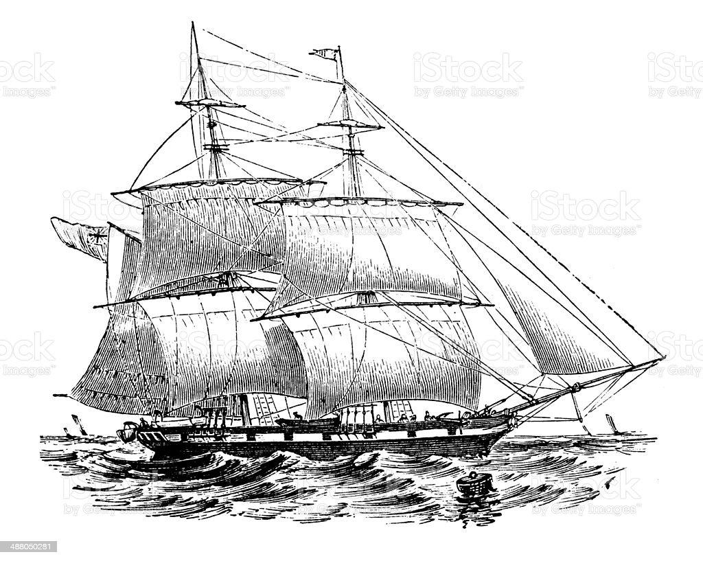 Antique illustration of brig vector art illustration