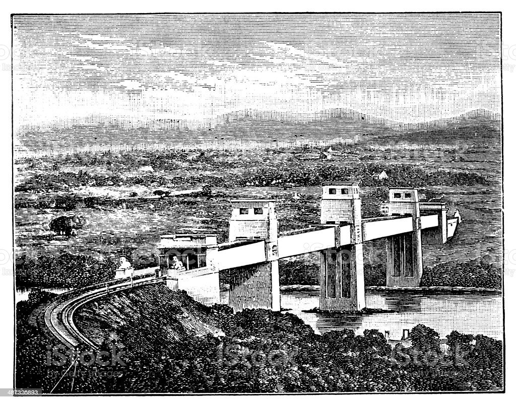 Antique illustration of Britannia Bridge vector art illustration