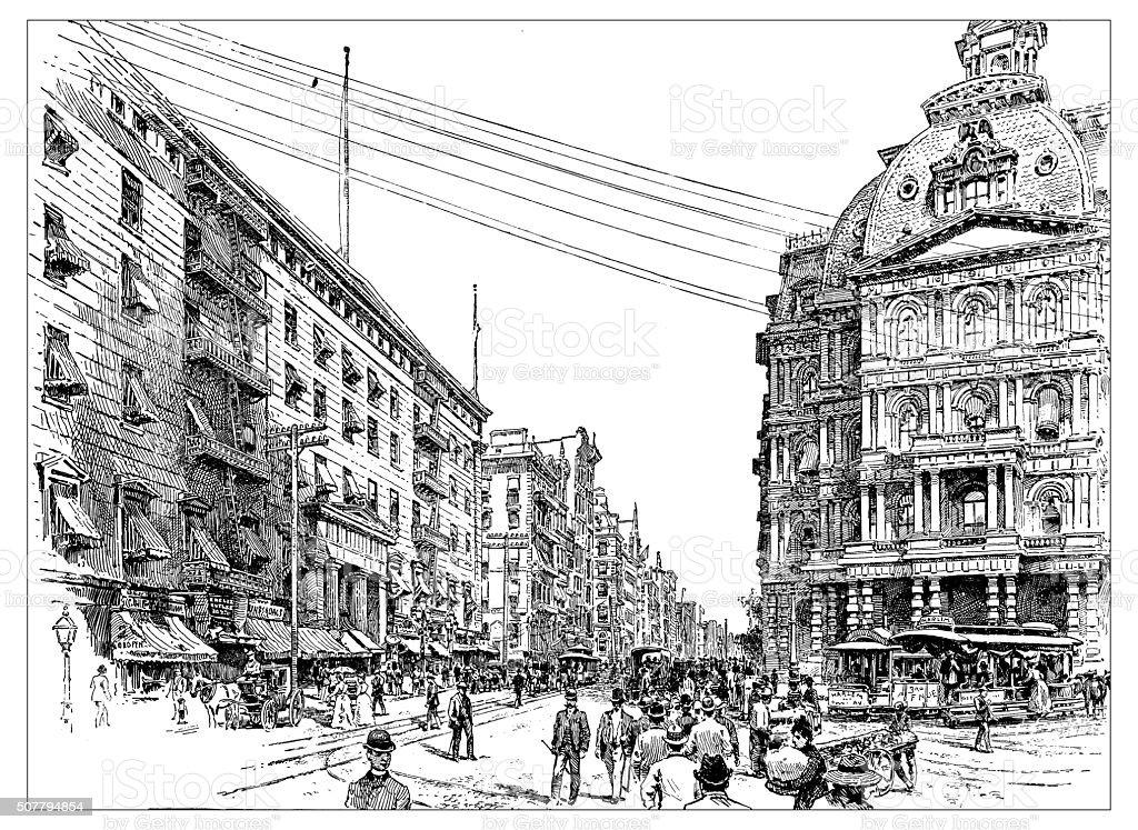 Antique illustration of Broadway vector art illustration