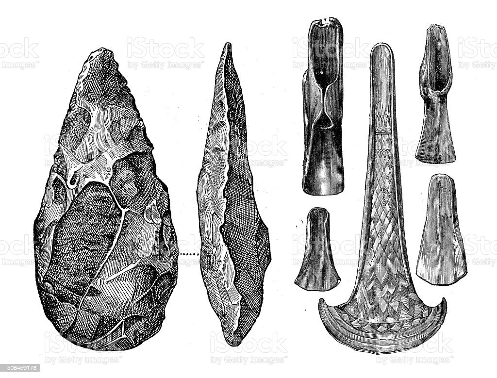 Antique illustration of bronze and stone prehistoric axes vector art illustration