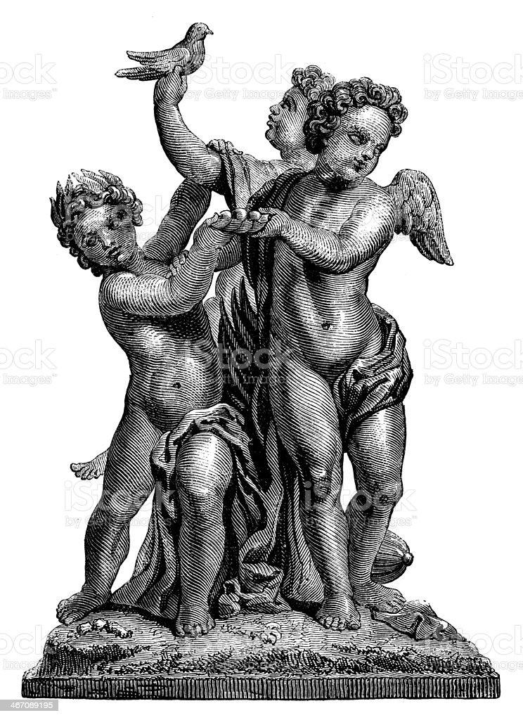 Antique illustration of bronze statue royalty-free stock vector art