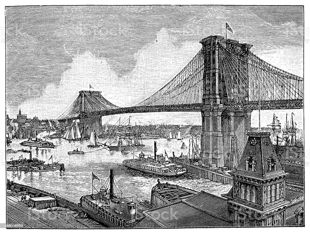 Antique illustration of Brooklyn suspension bridge vector art illustration