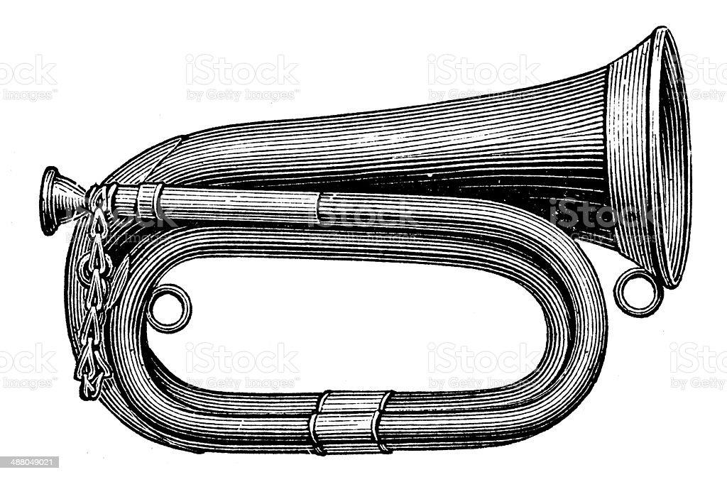 Antique illustration of bugle vector art illustration