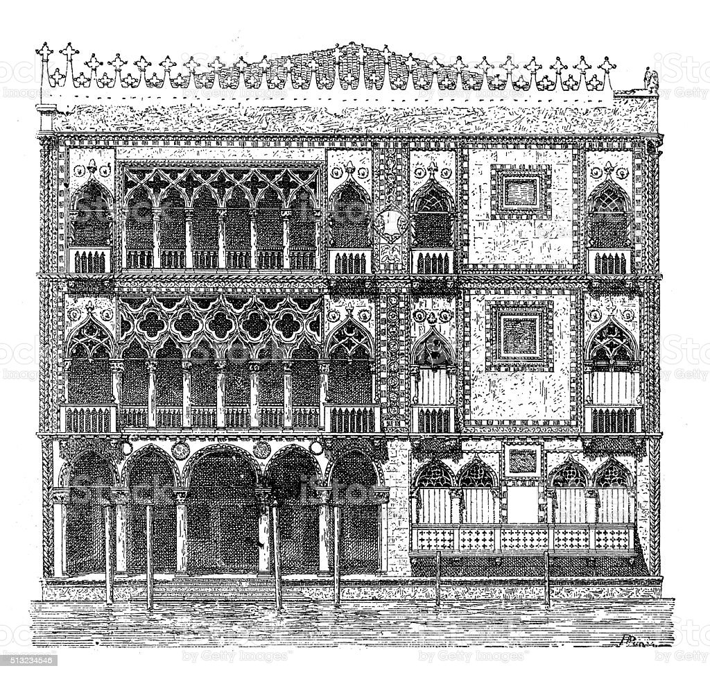 Antique illustration of Ca' d'Oro palace in Venice (Italy) vector art illustration