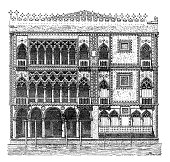 Antique illustration of Ca' d'Oro palace in Venice (Italy)