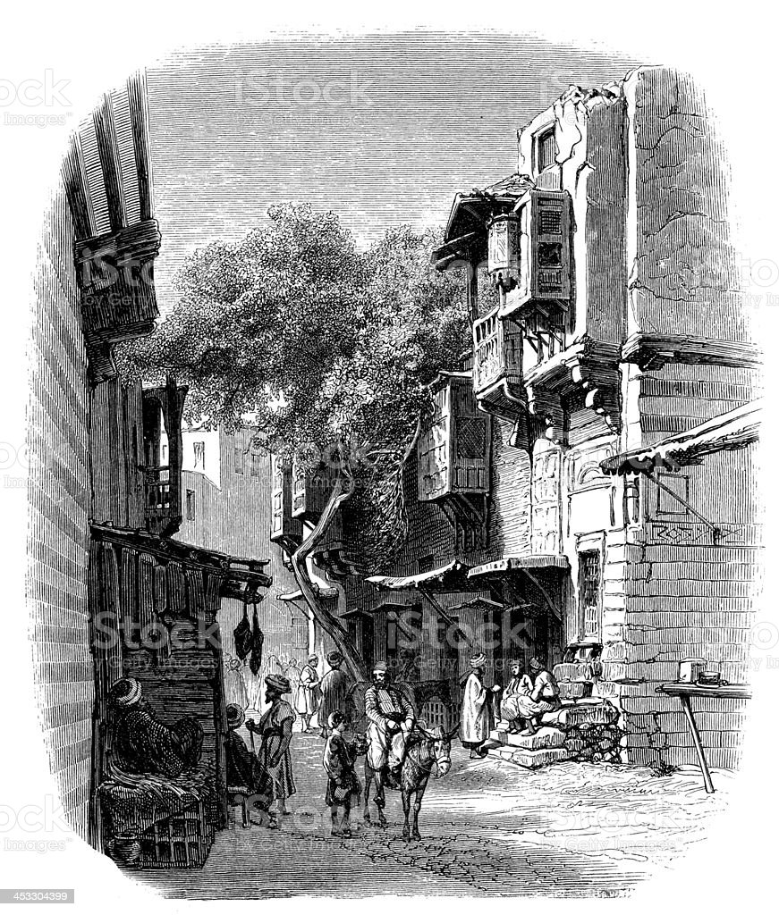 Antique illustration of Cairo street royalty-free stock vector art