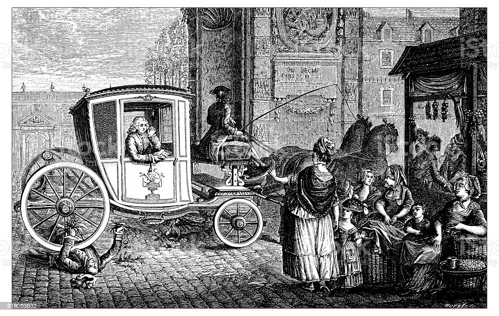Antique illustration of carriage run over man vector art illustration