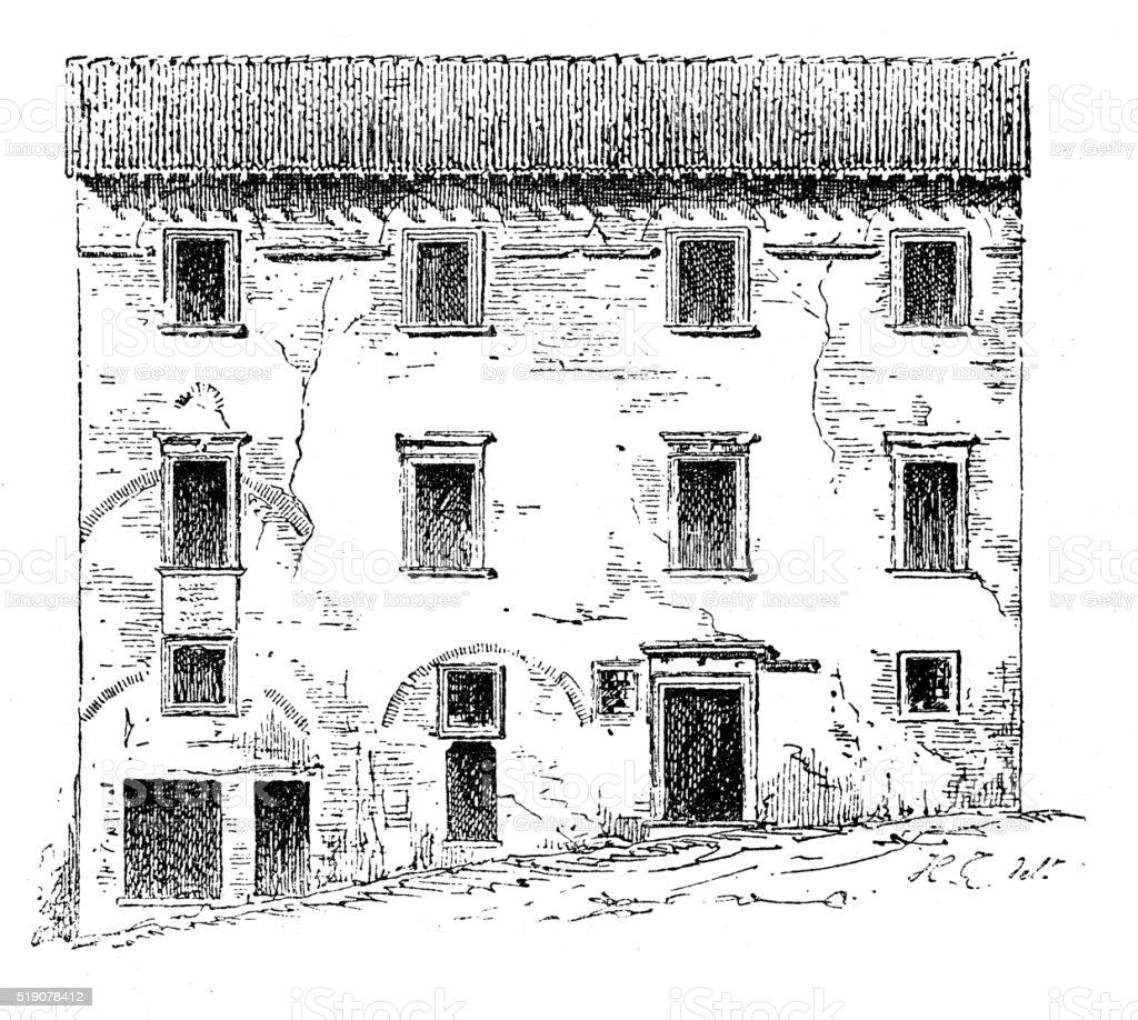 Antique illustration of Casa Santi-birthplace of Raffello Sanzio (Urbino, Italy) vector art illustration