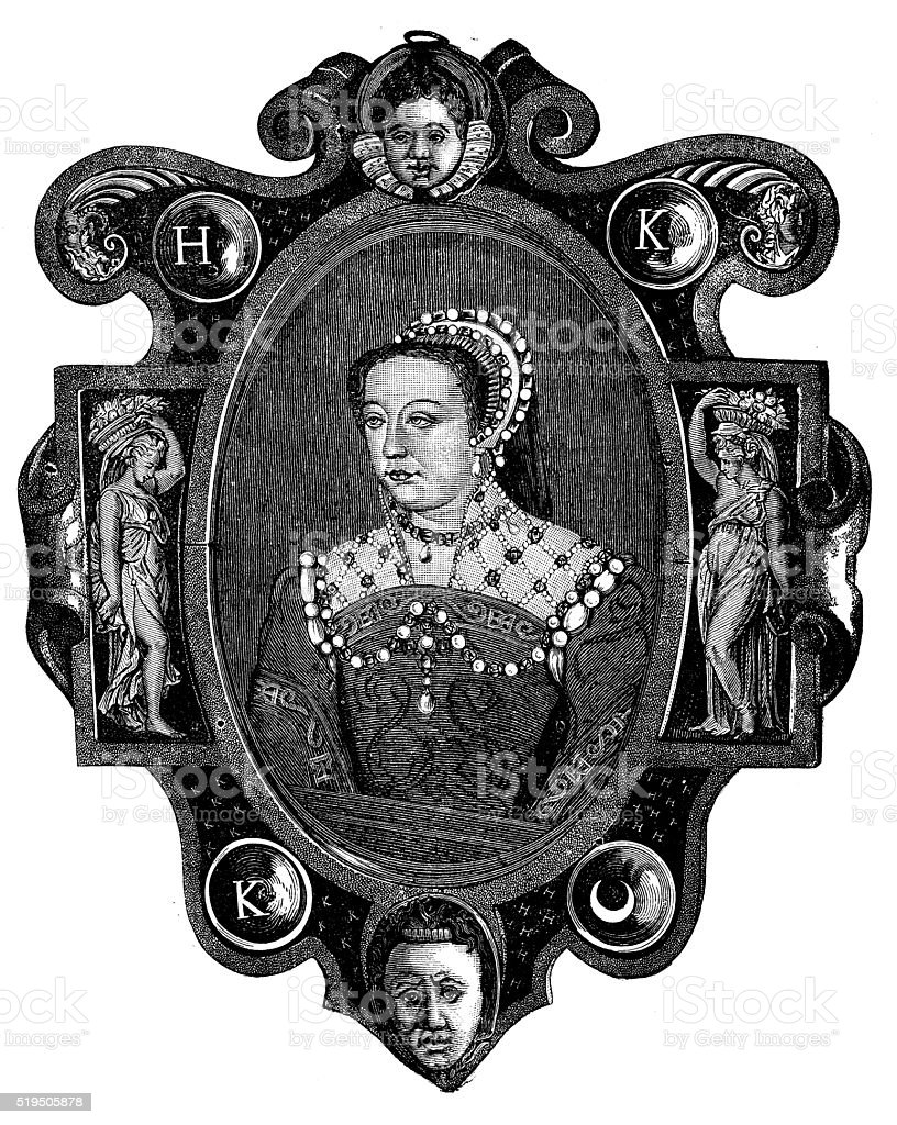 Antique illustration of Catherine de Medici, Queen of France vector art illustration