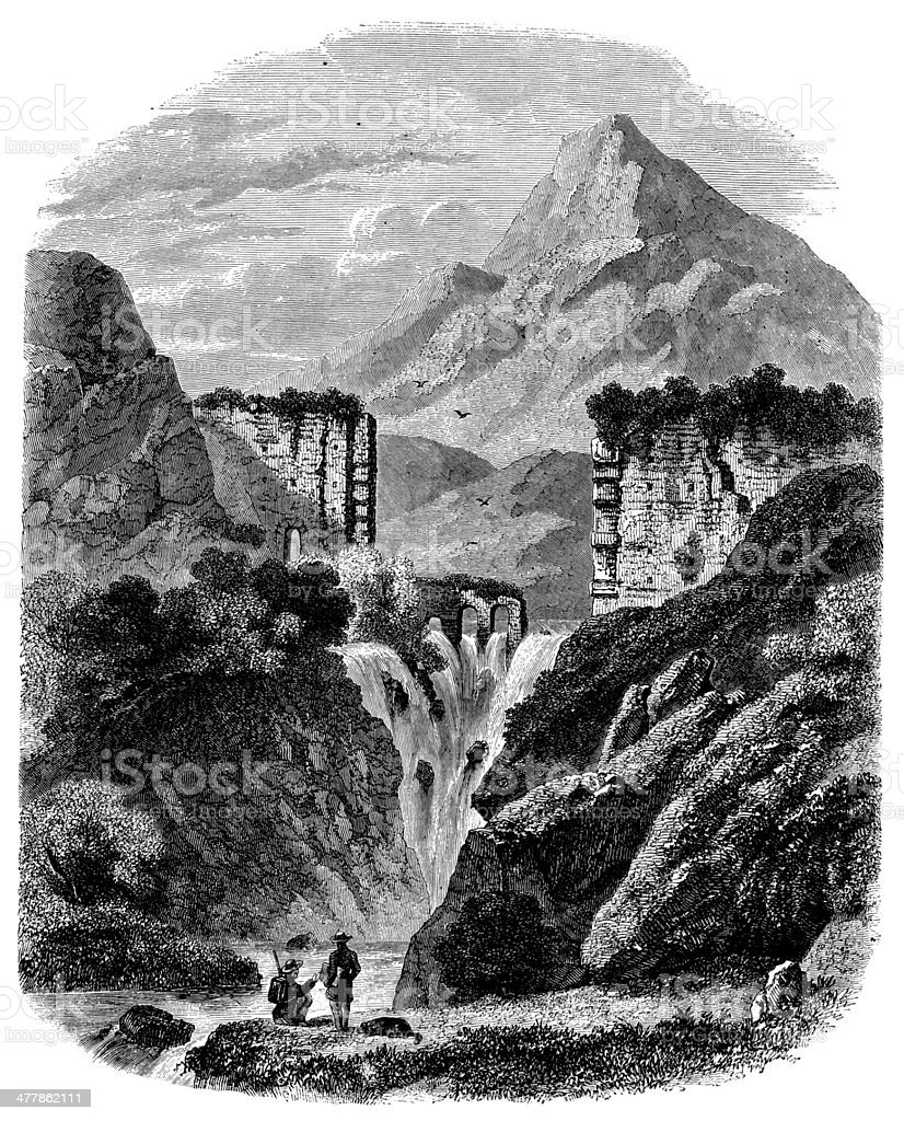Antique illustration of Cause river waterfall in Aix royalty-free stock vector art