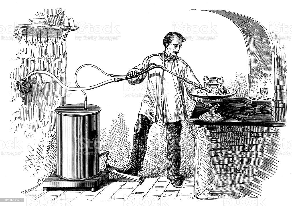 Antique illustration of chalumeau (blowtorch) tool royalty-free stock vector art