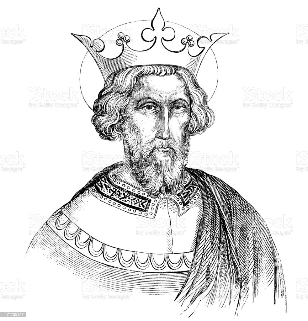 Antique illustration of Charlemagne vector art illustration