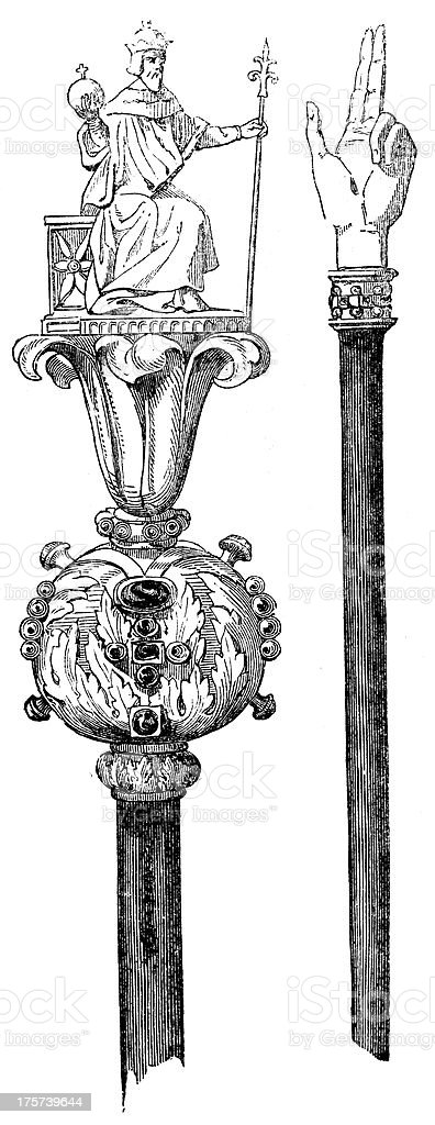 Antique illustration of Charlemagne scepter vector art illustration
