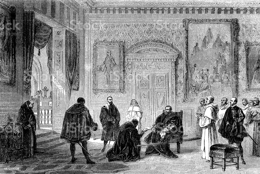 Antique illustration of Charles V in Yuste vector art illustration