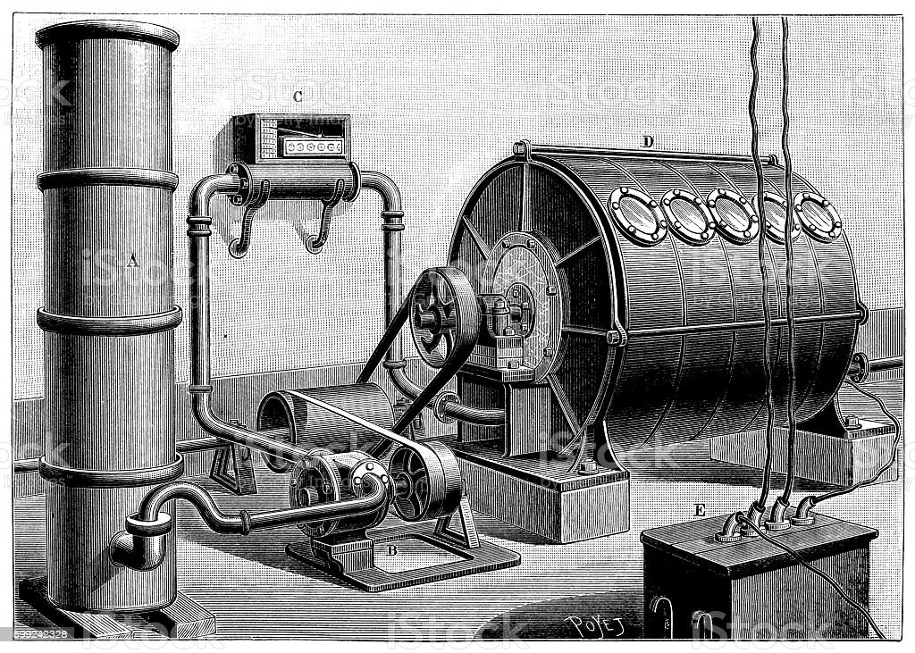 Antique illustration of chemistry machinery for the production of ozone vector art illustration